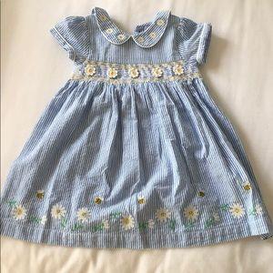 Blue Seersucker Dress 18-24Mo
